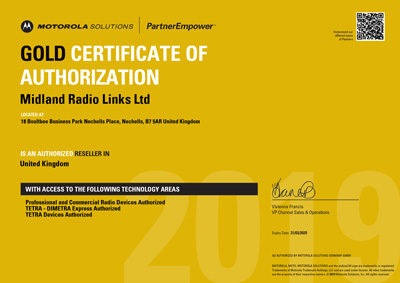 Midland Radio Links Motorola Solutions Certificate